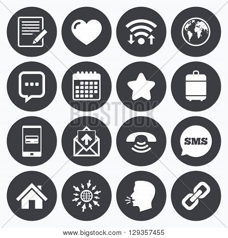 Wifi, calendar and mobile payments. Mail, contact icons. Favorite, like and internet signs. E-mail, chat message and phone call symbols. Sms speech bubble, go to web symbols.