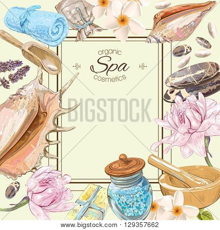 Tropic style spa treatment colorful frame with lotus, shells, frangipani and stones .Design for cosmetics, store, spa and beauty salon, natural and organic health care products. Vector illustration.