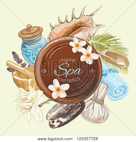 Spa treatment round banner with lotus, shells, frangipani and stones.Design for cosmetics, store, spa and beauty salon, organic health care products. Can be used as logo design. Vector illustration.