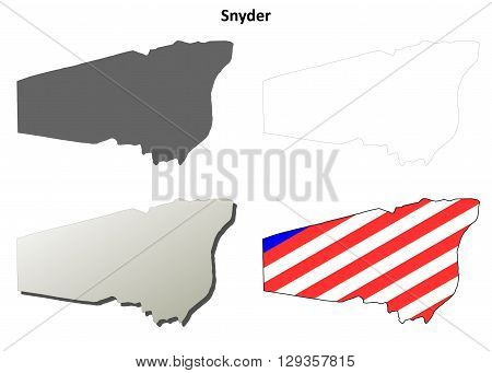 Snyder County, Pennsylvania blank outline map set