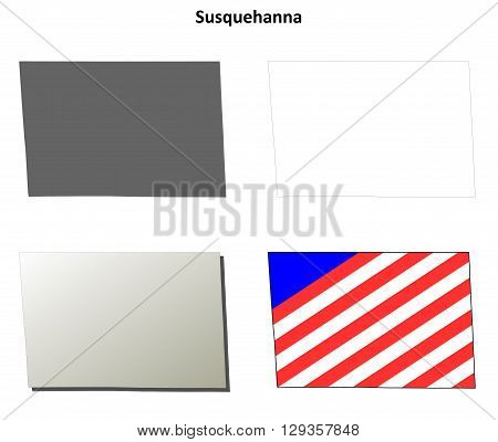 Susquehanna County, Pennsylvania blank outline map set