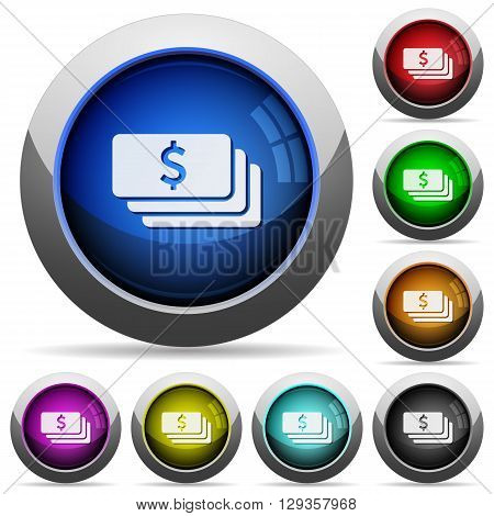 Set of round glossy Dollar banknotes buttons. Arranged layer structure.