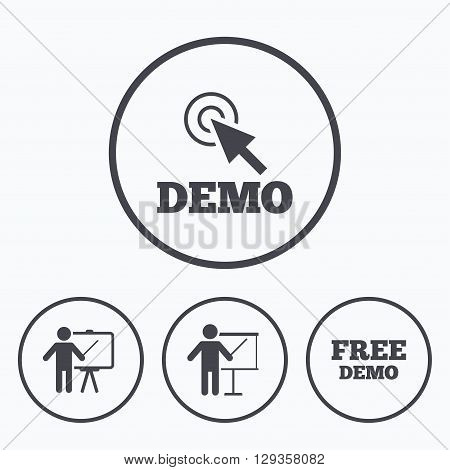 Demo with cursor icon. Presentation billboard sign. Man standing with pointer symbol. Icons in circles.