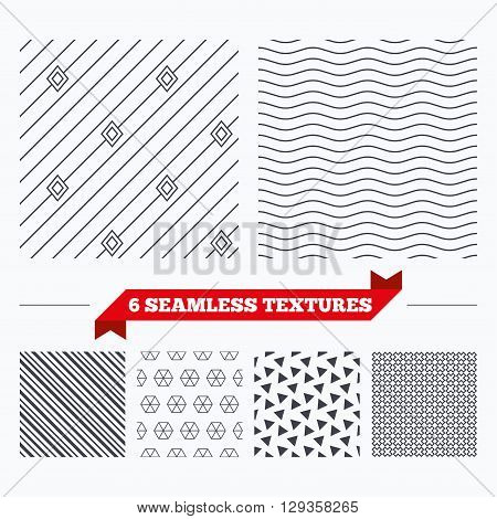 Diagonal lines, waves and geometry design. Diagonal lines with rhombus texture. Stripped geometric seamless pattern. Modern repeating stylish texture. Material patterns.