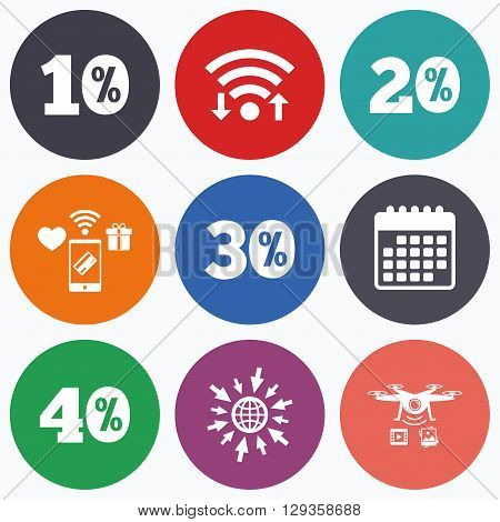 Wifi, mobile payments and drones icons. Sale discount icons. Special offer price signs. 10, 20, 30 and 40 percent off reduction symbols. Calendar symbol.