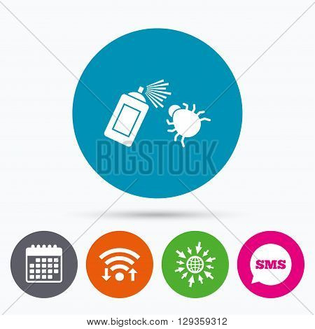 Wifi, Sms and calendar icons. Bug disinfection sign icon. Fumigation symbol. Bug sprayer. Go to web globe.