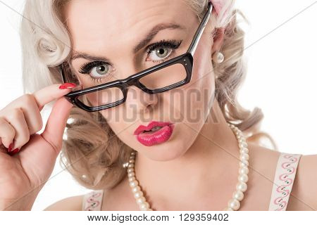 Cute Concerned Studious Girl Wearing Spectacles, Isolated On White