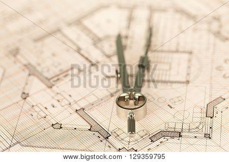 architecture blueprint -  house plan & compass