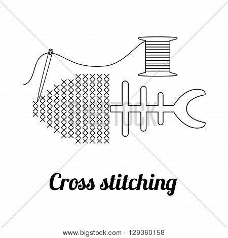 Cross stitching logo, badge or label. Embroidered fish, needle and thread spool. Vector illustration eps10.