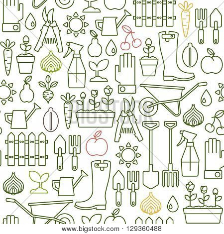 seamless pattern with line gardening icons
