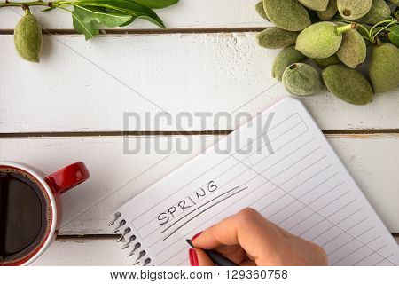 Woman hand with red hand polish writing spring on white sheet notebook unripe almonds red coffee cup flat lay overhead shot