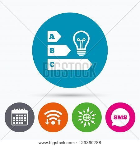 Wifi, Sms and calendar icons. Energy efficiency sign icon. Idea lamp bulb symbol. Go to web globe.