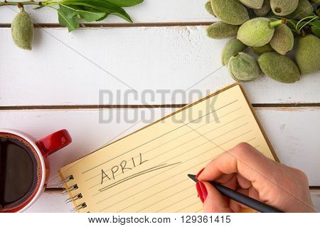 Woman hand writing april on yellow coloured notebook unripe almonds coffee in red cup