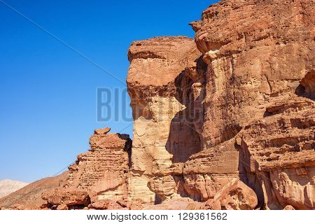 Sandtone cliff at Solomons Pillars in Timna Park Israel