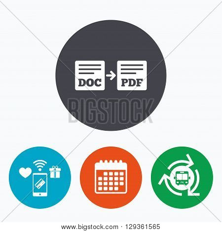 Export DOC to PDF icon. File document symbol. Mobile payments, calendar and wifi icons. Bus shuttle.