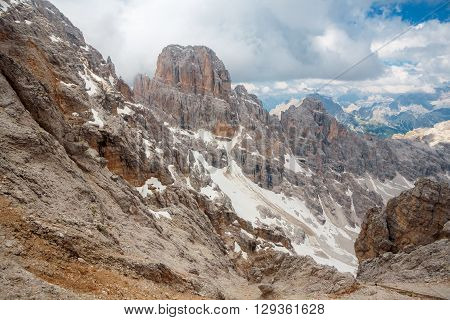 Peaks of the Monte Cristallo Massif in the Dolomites near to Cortina Italy