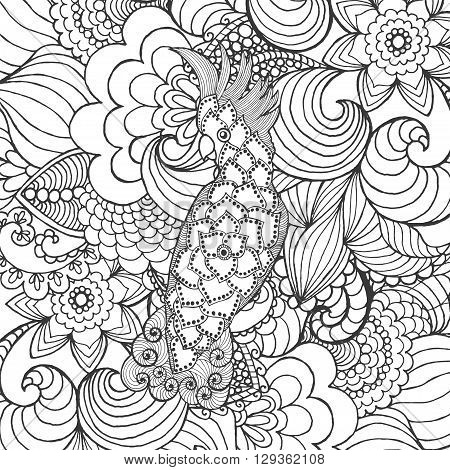 Cute cockatoo in fantasy garden. Animals. Hand drawn doodle. Ethnic patterned illustration. African, indian, totem tatoo design. Sketch for avatar, tattoo, poster, print or t-shirt.