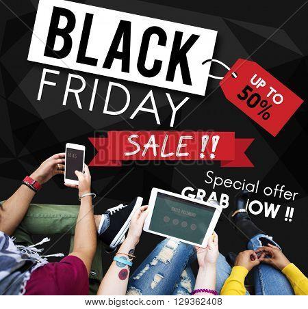 Black Friday Discount Half Price Promotion Concept