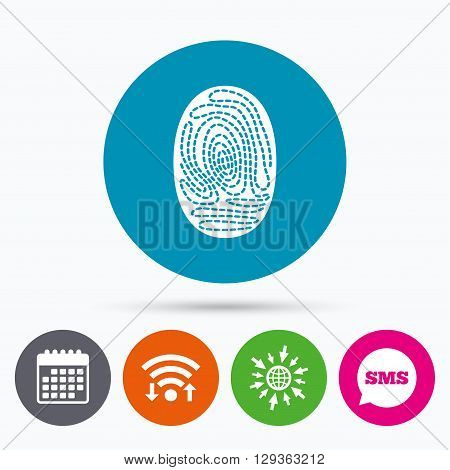 Wifi, Sms and calendar icons. Fingerprint sign icon. Identification or authentication symbol. Go to web globe.