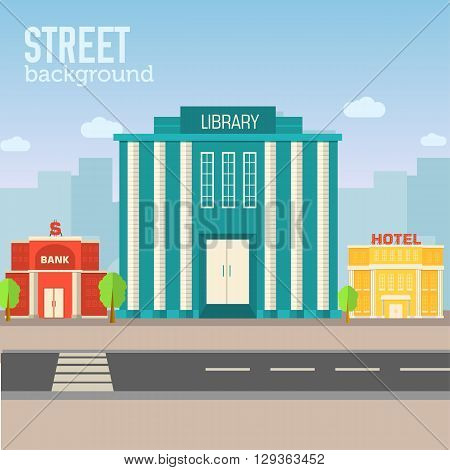 Library Building In City Space With Road On Flat Syle Background