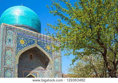 Uzbekistan Samarkand the main portal of the Sharhisindar mausoleum