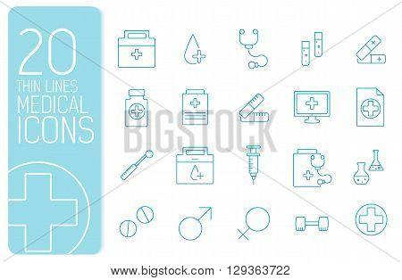 Thin Line Medical Set Icons Concept. Vector Illustration Design