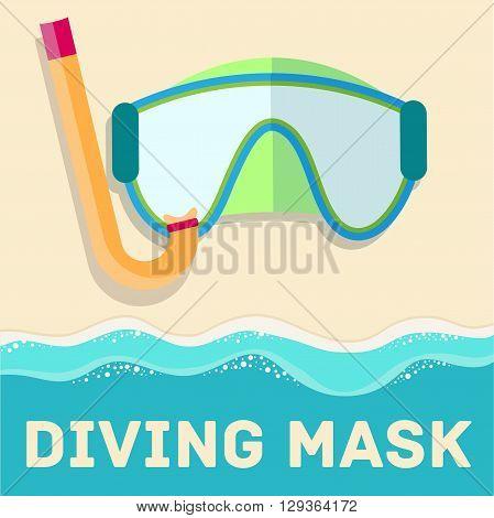 Retro Flat Diving Mask Concept. Vector Illustration Design