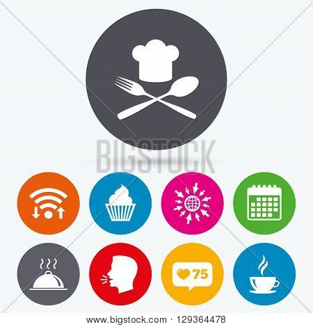 Wifi, like counter and calendar icons. Food and drink icons. Muffin cupcake symbol. Fork and spoon with Chef hat sign. Hot coffee cup. Food platter serving. Human talk, go to web.