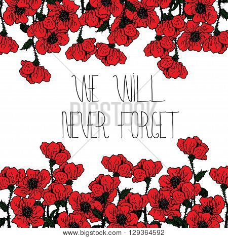 Design card for Memorial day with hand lettering and red poppies flowers. Text - Memorial Day. Frame for Memorial Day design.