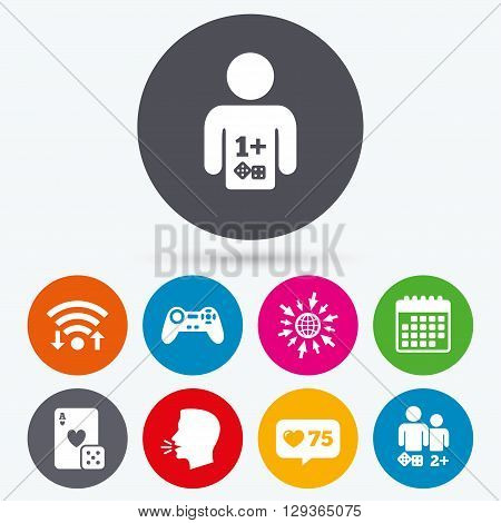 Wifi, like counter and calendar icons. Gamer icons. Board games players signs. Video game joystick symbol. Casino playing card. Human talk, go to web.