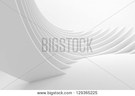 White Architecture Circular Background. Abstract Interior Design. 3d Modern Architecture Rendering. Futuristic Building Construction