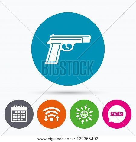 Wifi, Sms and calendar icons. Gun sign icon. Firearms weapon symbol. Go to web globe.