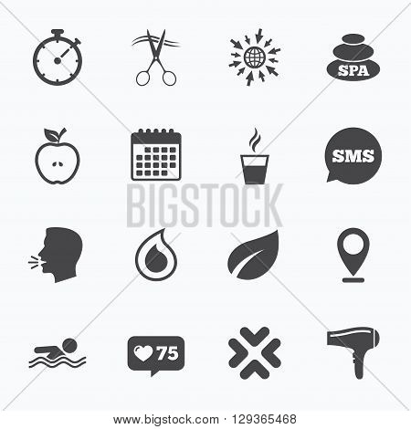 Calendar, go to web and like counter. Spa, hairdressing icons. Swimming pool sign. Water drop, scissors and hairdryer symbols. Sms speech bubble, talk symbols.