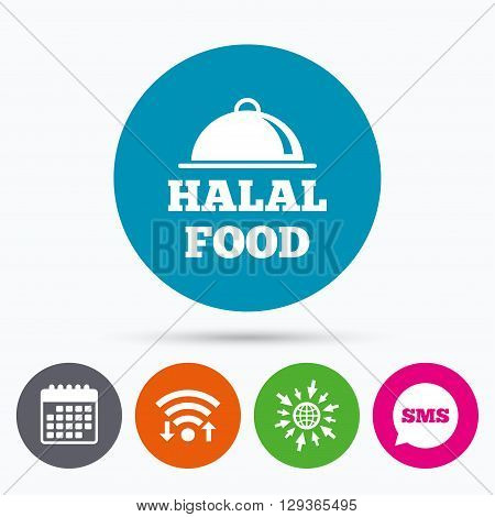 Wifi, Sms and calendar icons. Halal food product sign icon. Natural muslims food symbol. Go to web globe.