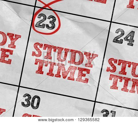 Concept image of a Calendar with the text: Study Time