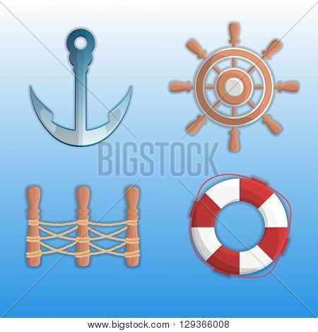 Set of sea icons. Icons sea theme. Flat icons. Themed design elements. Icons on the marine theme flat style. Vector helm, anchor, fence, lifebuoy.