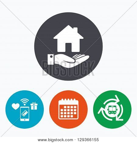 Home and hand sign icon. Palm holds house symbol. Mobile payments, calendar and wifi icons. Bus shuttle.