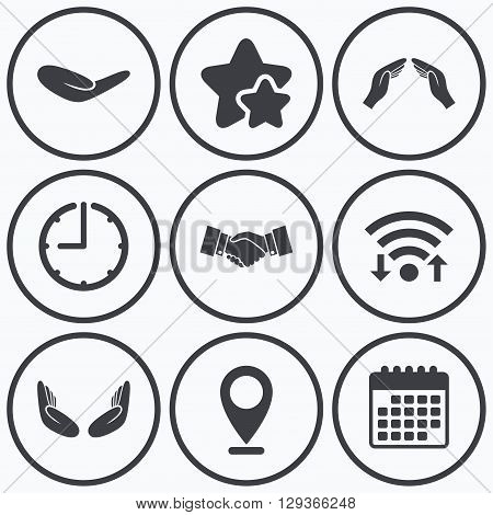 Clock, wifi and stars icons. Hand icons. Handshake successful business symbol. Insurance protection sign. Human helping donation hand. Prayer meditation hands. Calendar symbol.