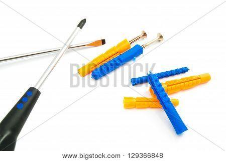 Colorful Dowels, Screws And Screwdrivers