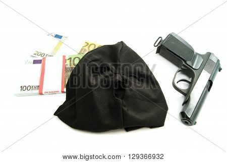 Gun, Mask And Banknotes