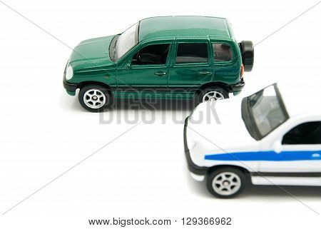 Civil And Police Modification Of Cars On White