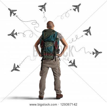 Man explorer with planes drawn around him
