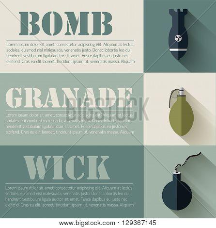 Flat Military Explosive Weapons Set Design Concept. Vector Illus