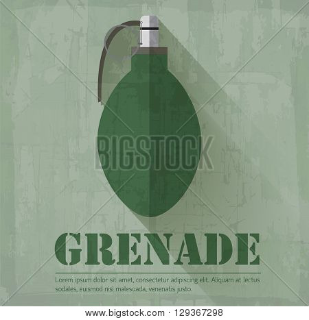 Grunge Military Grenede Icon Background Concept. Vector Illustra
