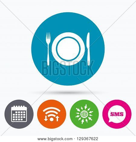 Wifi, Sms and calendar icons. Plate dish with fork and knife. Eat sign icon. Cutlery etiquette rules symbol. Go to web globe.