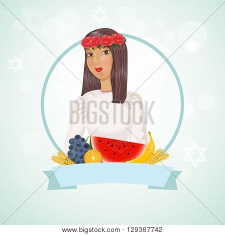 Girl with wreath on head and fruits.Vector Illustration with banner and space for text.