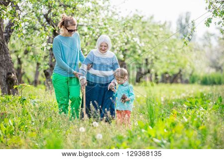 Senior woman supported by granddaughter and great grandson walking in blossoming orchard