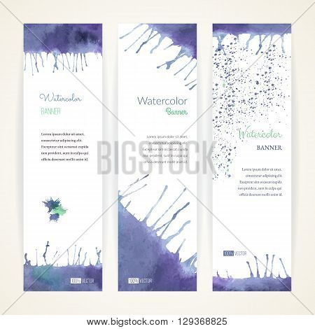 Set of hand painted watercolor vertical banners. Colorful abstract blue and violet brush stocks and splashes on a white backgrounds. Modern style graphic design template. Marketing concept.