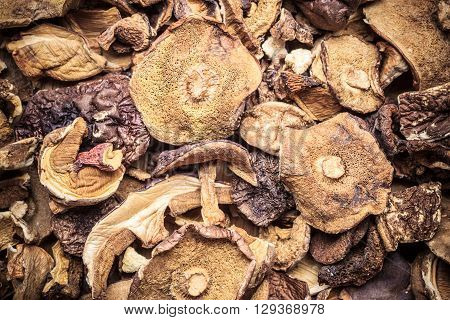Food. Closeup dry mushrooms boletus as background texture