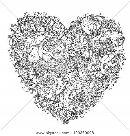 Uncolored heart by roses in zenart style, could be used for Adult colouring book. Hand-drawn, doodle, vector the best for your design, wedding cards, coloring book. Black and white.